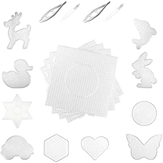 14pcs Fuse Beads Boards- 4 Pieces 5 mm Large Square Clear Plastic Pegboards 10 Pieces 5 mm Small Cute Fuse Beads Pegboards with 4 Pieces Fuse Bead Tweezers