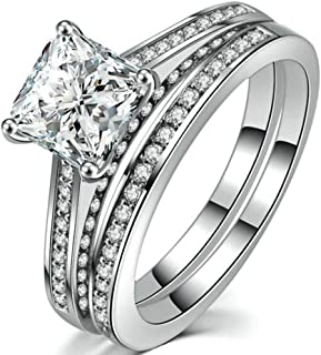 Jude Jewelers White Gold Plated Princess Cut Wedding Engagement Bridal Halo Eternity Solitaire Ring Set