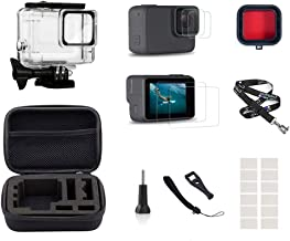 InBestOne Accessories kit for GoPro Hero 7 Silver/White with Waterproof Housing Case+Travel Case Small+Detachable Long Neck Strap Lanyard+ Screen Protector +Red Filter +Anti-Fog Insert