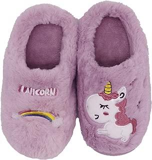 Elcssuy Cute Unicorn Slippers Winter Warm Soft Cozy Memory Foam Plush Fleece House Slippers for Girls Boys(Toddler/Little Kids)