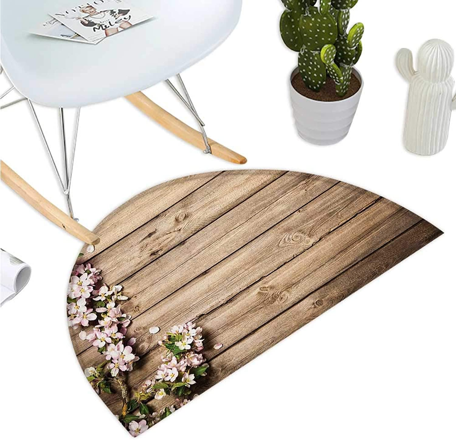 Rustic Semicircular Cushion Sweet Spring Flowering Tree Branch on Weathered Wooden Blooming Orchard Image Bathroom Mat H 39.3  xD 59  Pink Brown Green