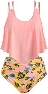 ♡QueenBB♡ Swimsuits for Women Sunflower Print Two Pieces Bathing Suits Ruffled Racerback Top with High Waisted Bottom