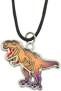 Fun Jewels Handmade T-Rex Dinosaur Pendant Color Change Mood Necklace For Boys Girls Animal Jewelry