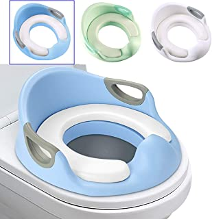Luchild Potty Toilet Seat for Toddlers Toilet Trainer Ring with Splash Guard Handles and Backrest Anti-Slip Potty Training Toilet Seat for Boys or Girls (Blue)