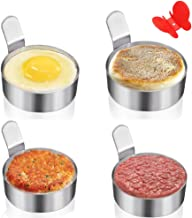 Egg Ring Yubng Stainless Steel Metal Egg Rings 4 Pack 3 Inch Omelet Mold Cooking Non Stick Pancake Ring Metal Kitchen Cooking Tool Egg Ring with Free Butterfly Anti-Scalding Silicone