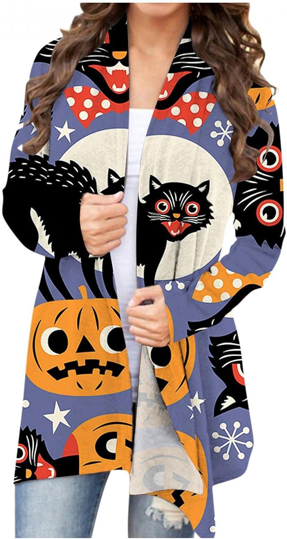 Sweaters for Women Open Front Cardigan Lightweight Long Sleeve Halloween Funny Pumpkin Black Cat Ghost Coat
