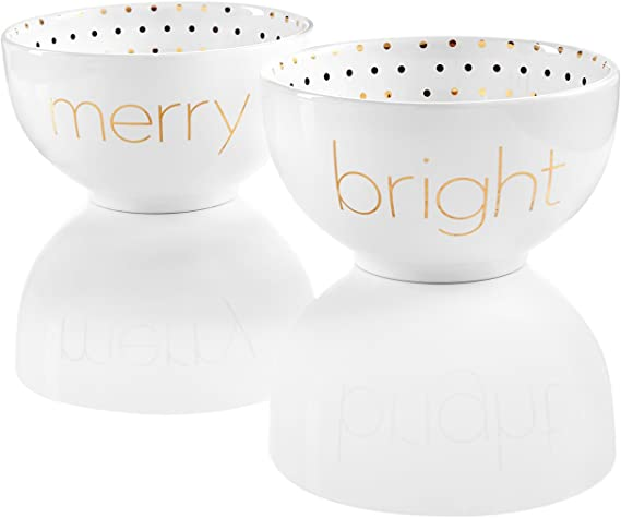 Jay Imports Merry and Bright Set of 2 Word Bowls