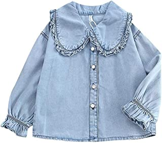 ALLAIBB Little Babys Girls Autumn Long Sleeve Shirt Personality Wild Lace Large Lapel Casual Denim Shirt Elastic Cuffs Solid Color Babys Shirt Fashion Wild Girls Casual Daily Outfit