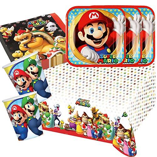 Unbekannt 37-teiliges Party-Set Super Mario - Teller Becher Servietten Tischdecke für 8 Kinder