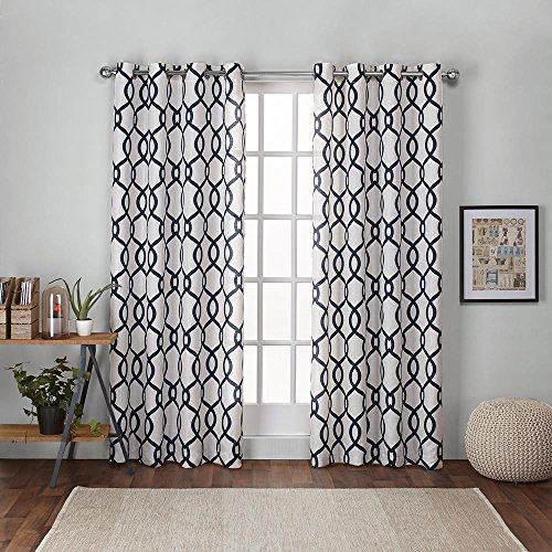 Exclusive Home Curtains Kochi Linen Blend Grommet Top Curtain Panel Pair, 54x108, Indigo, 2 Count