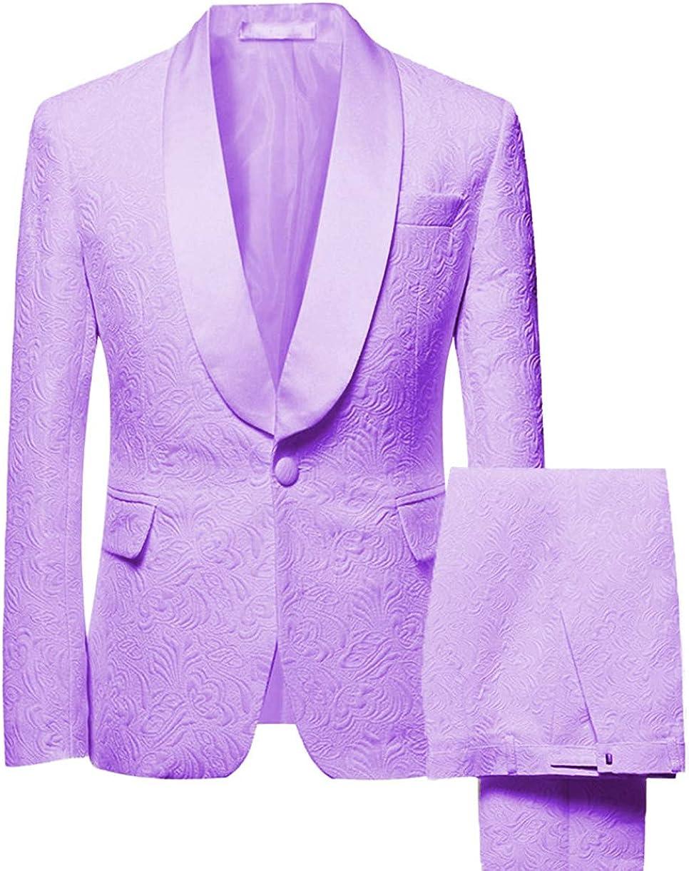 Men's Two Piece Formal Printing Mens' Suit Slim Fit Shawl Collar Wedding Tuxedos for Groomsmen (Blazer+Pant)