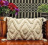 IMPEXART PVT LTD Funda de cojín decorativa bohemia de 40 x 60 cm, color marfil