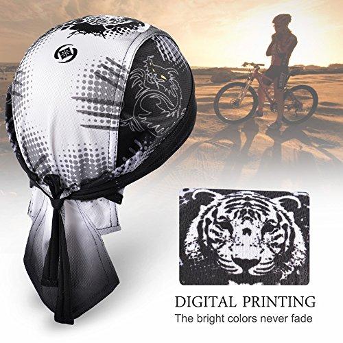Vbiger Bandana Cap Sommermütze Bandana Kopftuch Atmungsaktive Fahrrad Kopfbedeckung, Farbe-01, Einheitsgröße - 3