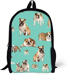 HUGS IDEA Cute Kids Backpack Bulldog Printed Child Book Bag for Middle School Outdoor Daypack