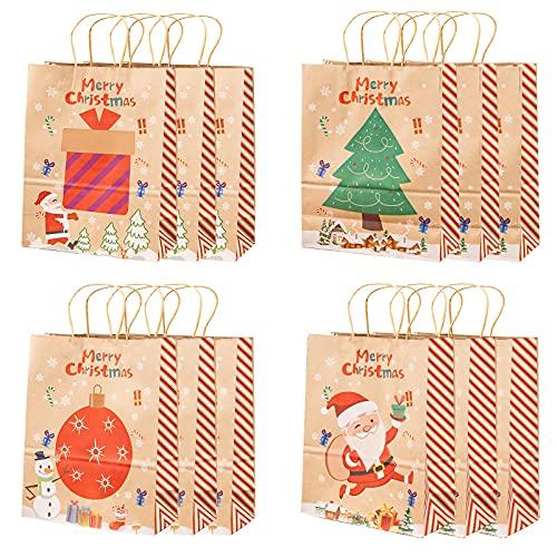12 Bolsas de regalo navidad 4 Estilos bolsas de regalo papel Kraft Reutilizable con Asas Navidad Bolsas de Papel para favores de Fiesta de Navidad, Bodas, cumpleaños (27 * 21 * 11cm)