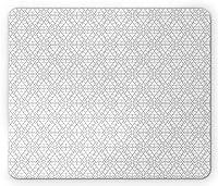 幾何学的な長方形のマウスパッドファッション、抽象的な凹形状と三角形のプリントの連続パターン、滑り止めラバーバッキングマウスパッドファッション、チャコールグレーとホワイト