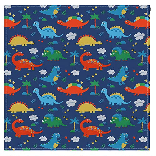 Zicac お食事マット 食べこぼしマット 床 滑り止め テーブルマット 大判 速乾 可愛い 動物 洗える 130×130cm 恐竜