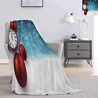 Clock Children's Blanket New Year Themed Christmas Balls and a Vintage Clock Background with Snowflakes Lightweight Soft Warm and Comfortable W60 x L50 Inch Red and Blue
