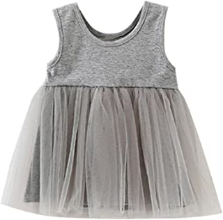 Lemcos 子供 ワンピース 無地 ノースリーブ コットン レース Oネック 子どもドレス 女 可愛い スカート 子供服 女の子用 春衣装 女児 グレー