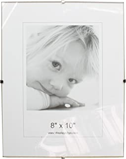 Displays2go 8 x 10 x 1/4-Inch, Tempered Glass Frameless Clip Picture Frame for 8 x 10-Inch Prints, Wall-Mounted - Sold in Sets of 6