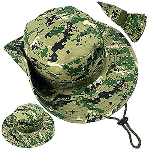 ZffXH Táctico militar Boonie sombrero para hombres mujeres Cowboy Camo Caza Pesca Cap Sol Upf protección, marrón