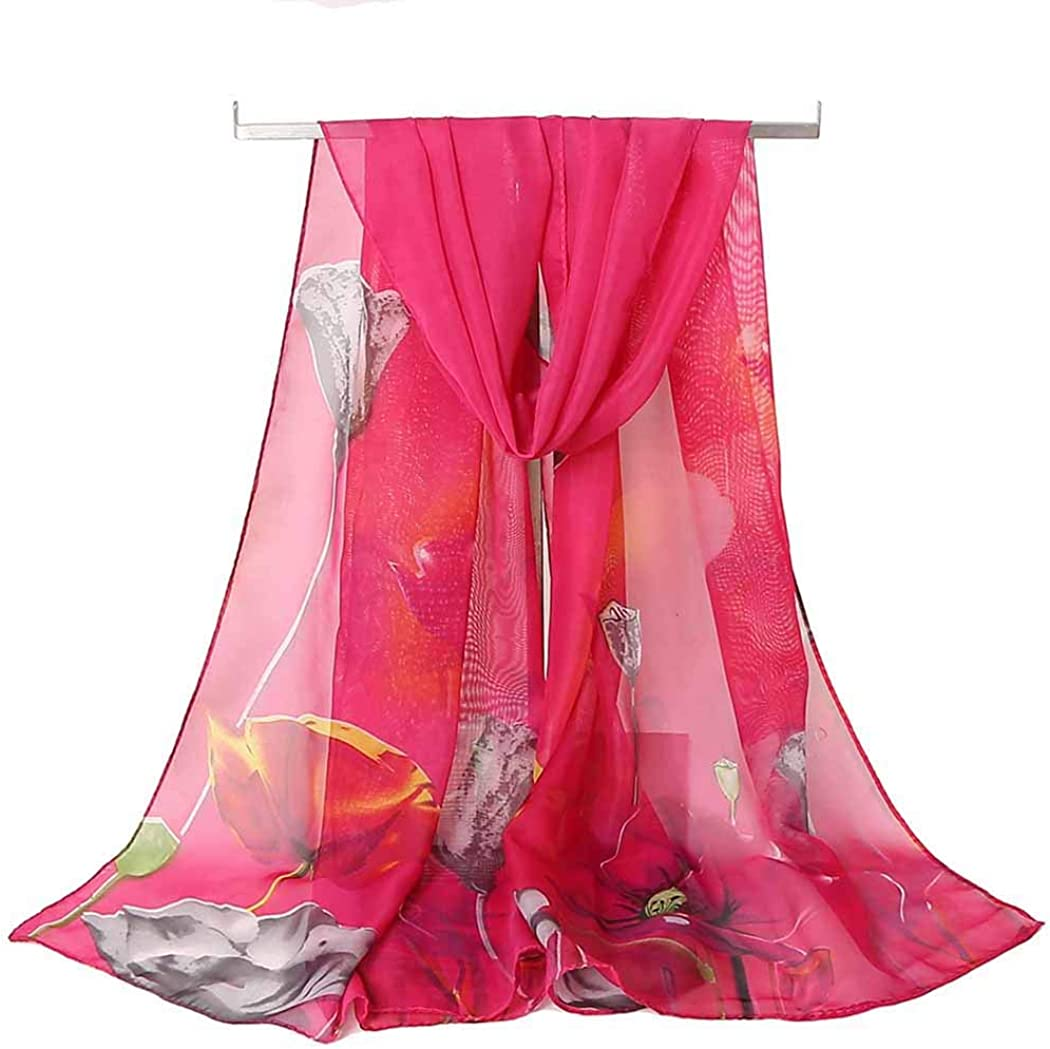 Acotavie Scarfs for Women Lightweight Chiffon Scarf Fashion Scarves Sheer Print Shawl Holiday Scarf