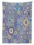 Yeuss Mantel Azul, Colección Rich Azulejos marroquíes Antiguos Patrón de Estilo de Patchwork Arabesco Oriental, Cubierta de Mesa Rectangular para Comedor, 60 x 90 Pulgadas