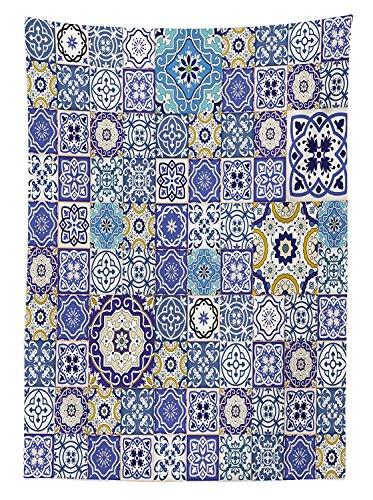Yeuss Mantel Azul Rich Collection de Azulejos Marroquies Antiguos, Patron de Patchwork, Estilo Oriental arabe, Comedor, Cocina, Mesa Rectangular, Multicolor, 132 x 178 cm, 52\ x 70\(132 x 178 cm)