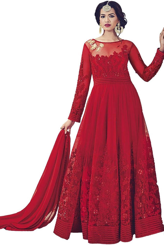 INMONARCH Womens Partywear Net Maroon Anarkali Suits SLRD1530