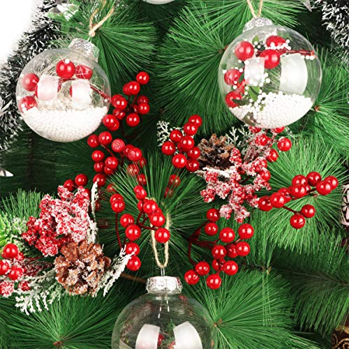 Holiday and Home Decor DIY Xmas Wreath 8Inch Artificial Christmas Picks for Christmas Tree Ornaments Artiflr 30 Pcs Christmas Red Berries Stems Crafts