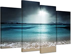iHAPPYWALL Hello Artwork - Modern Canvas Wall Art Blue Ocean Seascape with Sea Wave The Pictures Beach Landscape Print On Canvas Ready to Hang for Living Room Bedroom Home Office Decor (4Panel)