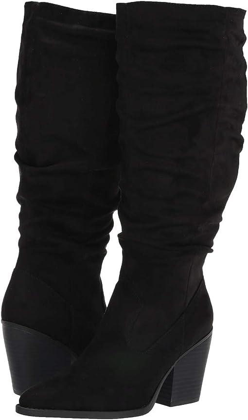 Black Fabric Wide Calf