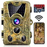 WiFi Trail Camera, 24MP 1296P with 32GB Card Game Camera with Night Vision Motion Activated...