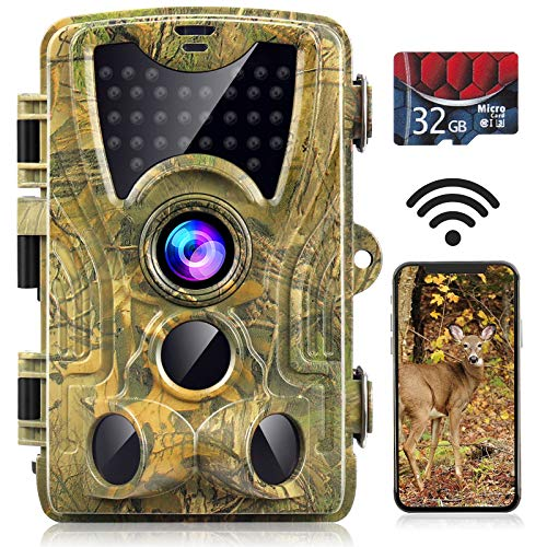 "WiFi Trail Camera, 24MP 1296P with 32GB Card Game Camera with Night Vision Motion Activated Waterproof Hunting Camera with 120° Wide Angle 0.2s Trigger Time 2.4""LCD Screen"