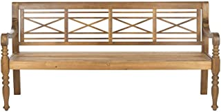 Safavieh Patio Collection Martin Adirondack Acacia Wood Bench, Natural