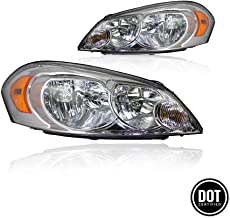 Replacement Headlight Assembly for 2006-2013 Chevy Impala 06 07 Chevy Monte Carlo Headlamp Driving Light Chrome Housing Amber Reflector Clear Lens(Passenger and Driver side) 25958359 25958360