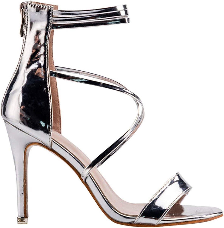Sandals Sandals Summer Zipper Party Sandals Cross-Tied Thin Heel Ladies shoes 014C3891-4