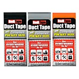 RediTape 10932 Colored Compact Flat Fold Duct Tape | for Travel, Camping, Photography and Emergencies | Pocket Size, 3-Pack, Black, Orange, Silver
