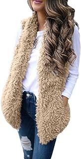 Creazrise Womens Vest Casual Faux Fur Sherpa Jacket Winter Sleeveless Open Front Coat Sleeveless Waistcoat