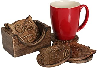 Nirvana Class Wooden Crafted Coaster Set of 6 with Coasters Holder for Drink Bar Coaster Tea Coffee Mug Tabletop Barware D...