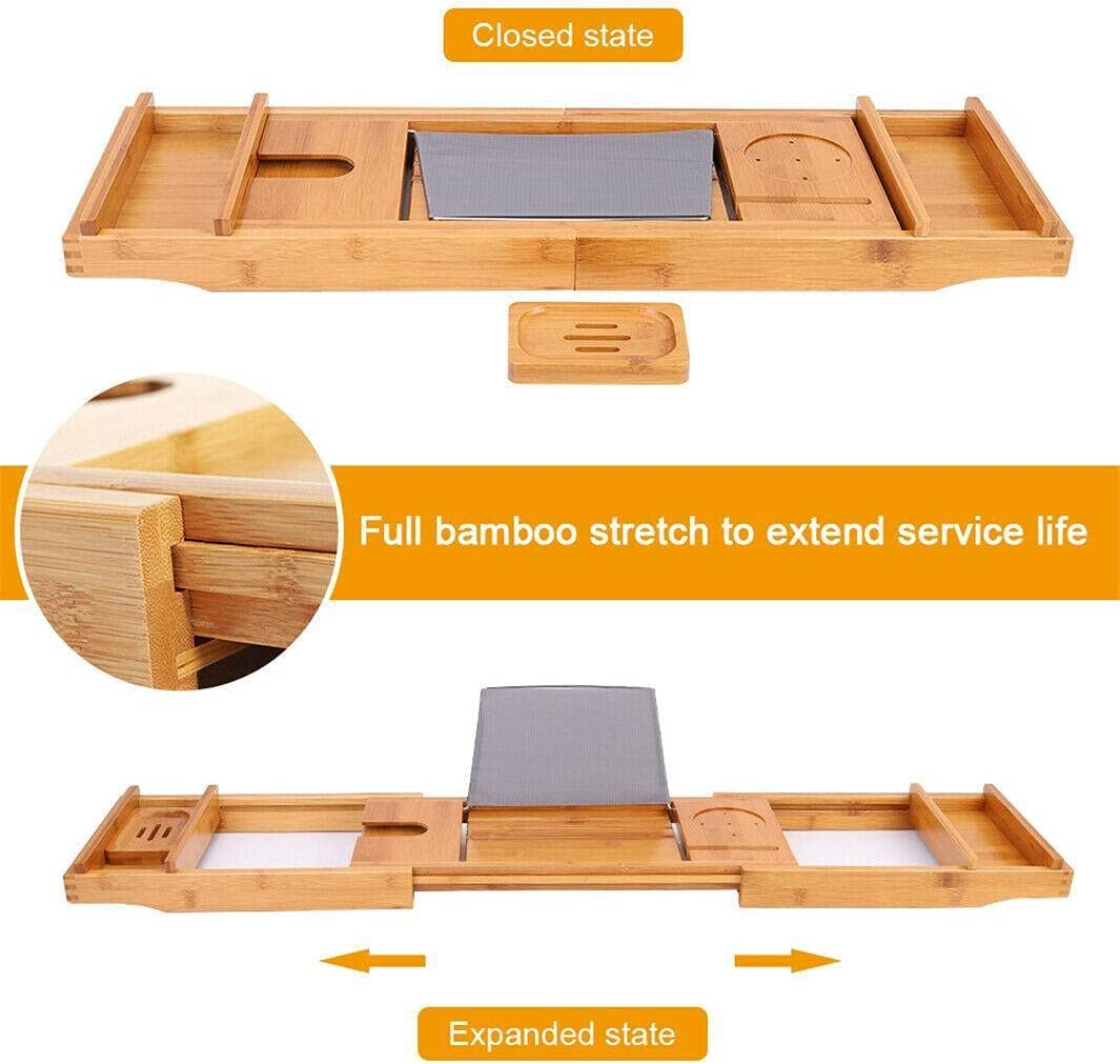 30~43in Extendable Los Angeles Mall Bamboo Baltimore Mall Bathtub Tray Phone Bathroom Boo Tablet