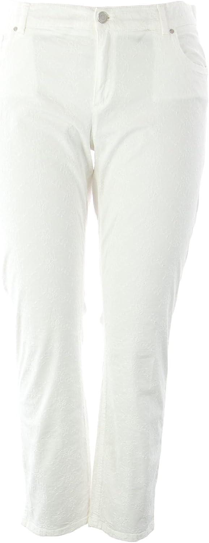 Marina Rinaldi Women's Regolare Floral Super Slim Pants 14W   23 White