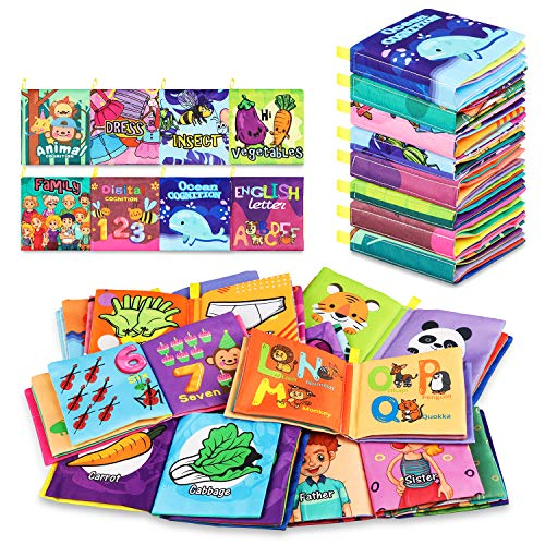 Baby Bath Books,Nontoxic Fabric Soft Baby Cloth Books, Early Education Toys,Waterproof Baby Books for Toddler, Infants Crinkly Cloth Book Shower Toys 6 to 12 - 18 Months - Pack of 8