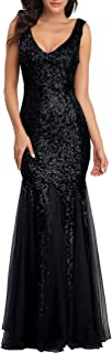 Womens Party Dress Sequins Tulle Sexy V-Neck Long Dress...