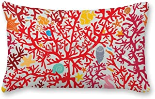 happygoluck1y - Fundas de cojín rectangulares con diseño de arrecifes de coral y vida marina, 30 x 50 cm, lona decorativa fundas de almohada para sillas, recámara de niños