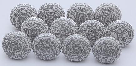 Manopole Manopole Indian lotto di 10 grigio e bianco pomelli ...