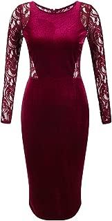 Women's Long Sleeve Velvet Lace Midi Wrap Dress