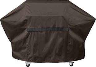 "True Guard Grill Cover Heavy Duty Waterproof - Fits 3-4 Burner Grills, 62"" 600D Rip-Stop, Fade/Stain/UV Resistant, Dark Brown Outdoor BBQ Grill Cover"