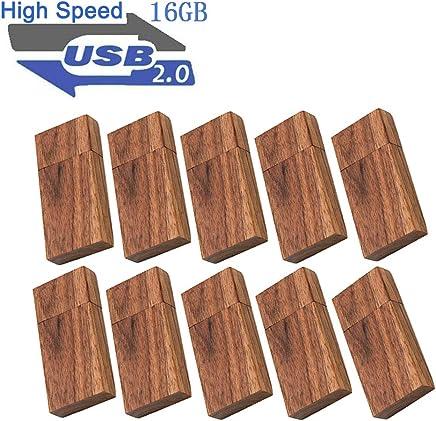 USB 16GB Flash Drive 10 Pack, EASTBULL Wood Memory Stick...