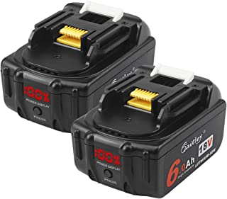 2 Pack Waitley BL1860B-2 18V 6.0Ah Replacement Battery Compatible with Makita BL1830 BL1840 BL1850 BL1860 BL1860B LXT Lithium-Ion Battery Tools with LED Indicator